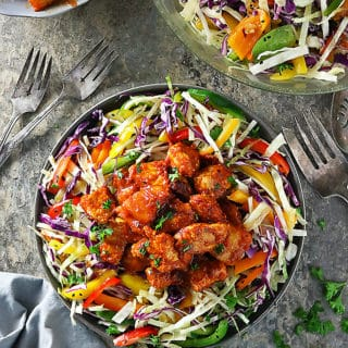Photo of low carb Spicy Pineapple Pork Cabbage Pepper Salad Image