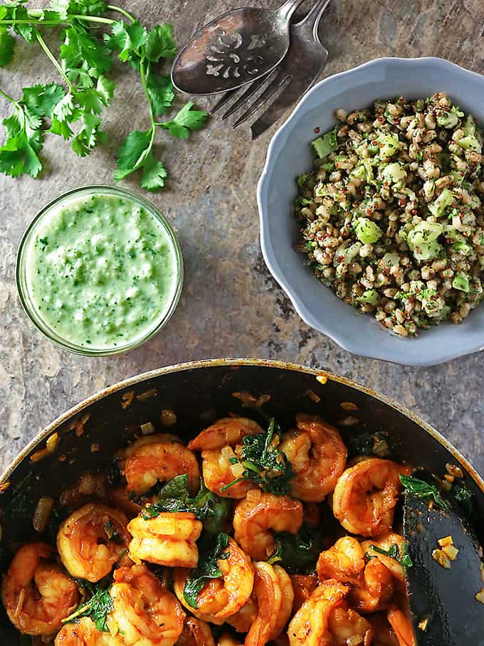 Photo of Spicy Curried Shrimp Spinach Sprouts Ancient Grains With Cucumber Yogurt Sauce