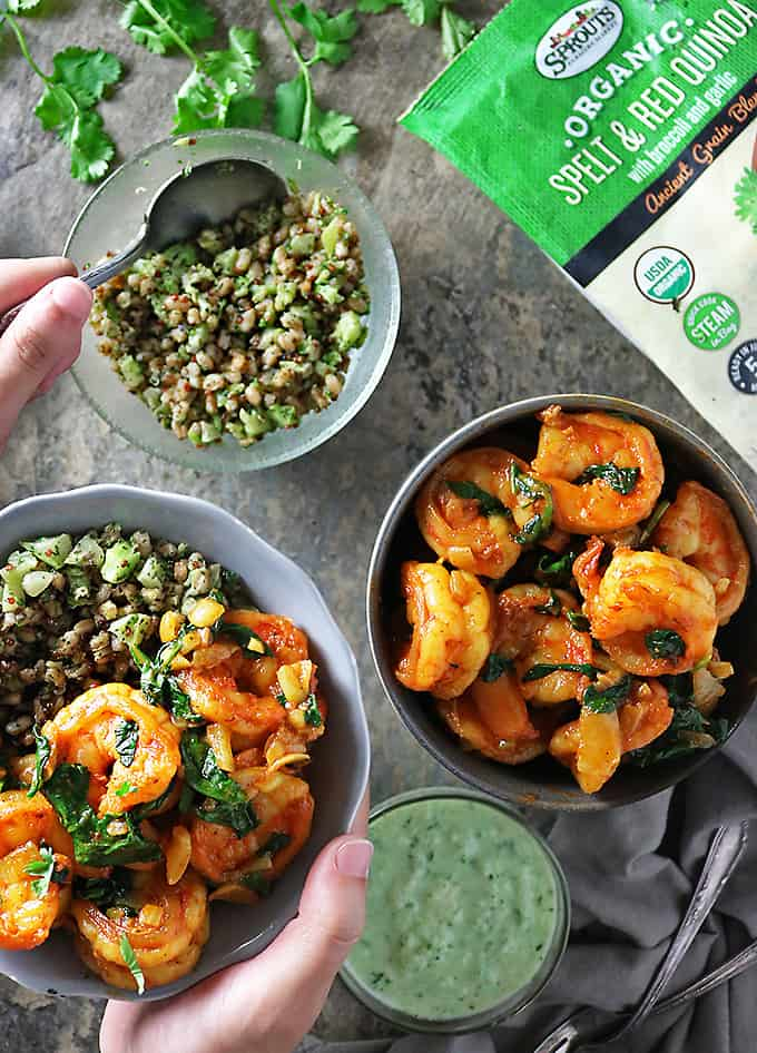 Photo of Spicy Spinach Shrimp Ancient Grains Bowls