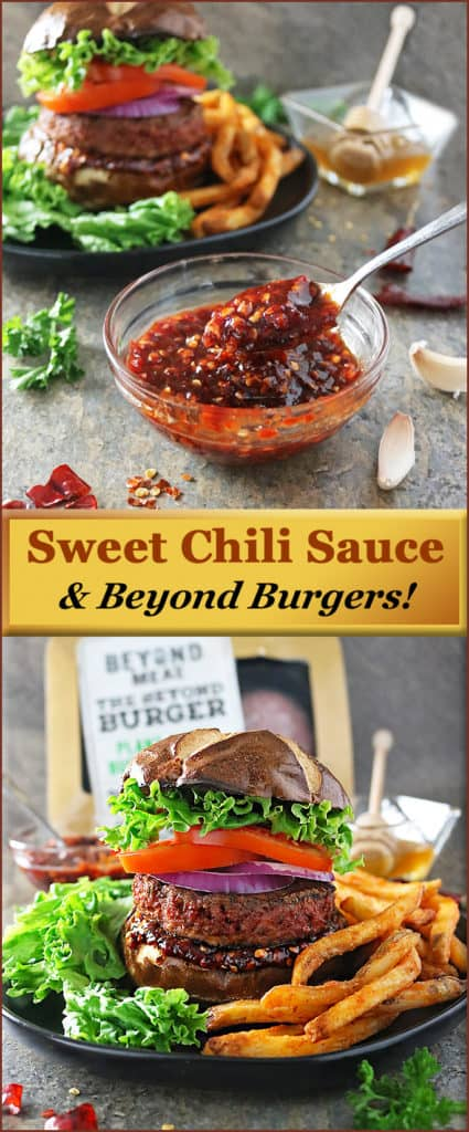 A delicious and healthier sweet chili sauce is delightful with @beyondmeat #beyondburger!