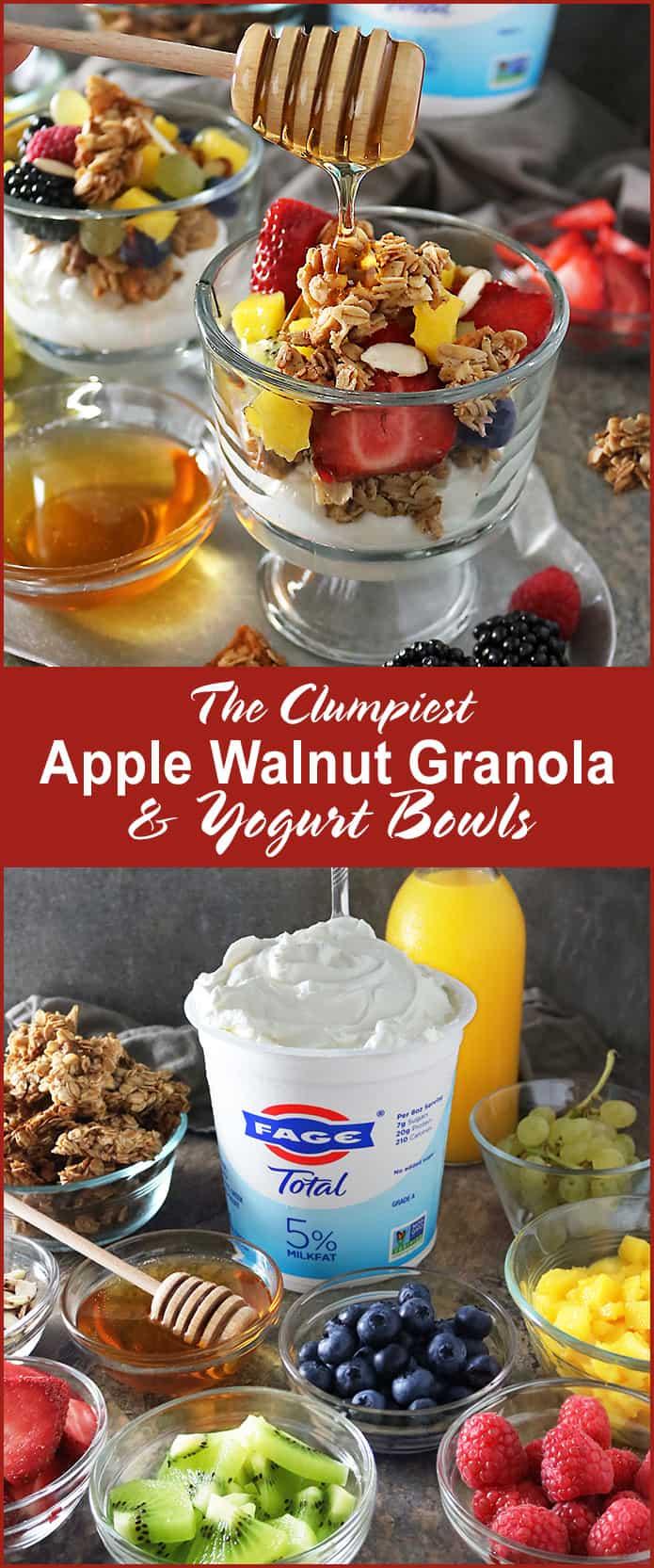 Clumpiest Apple walnut Granola And Fage Greek Yogurt Bowls #ad #FAGEYourWay @FAGE