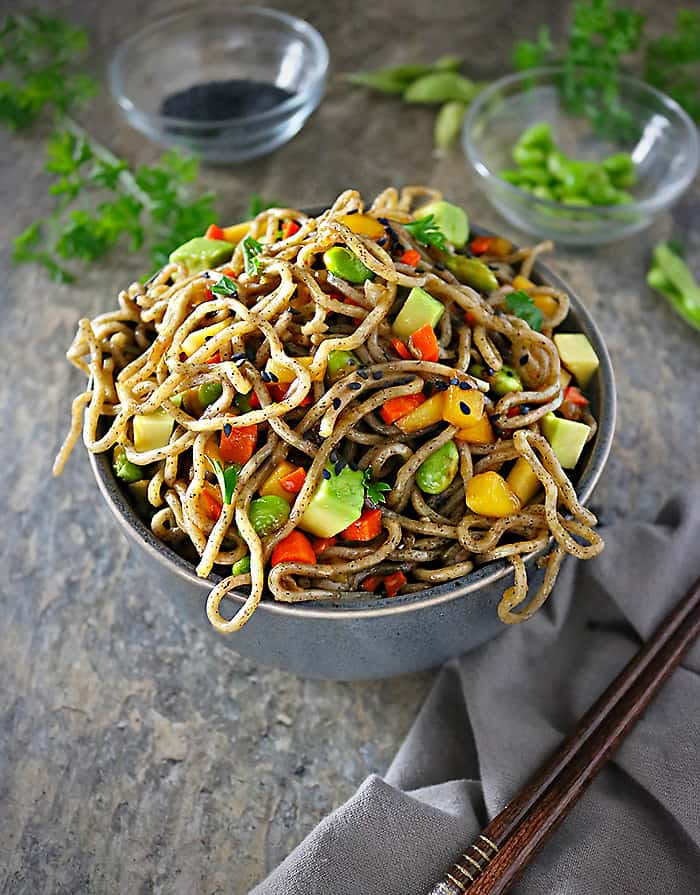 Photo of Delicious Mango Avocado Soba Buckwheat Noodle Bowls