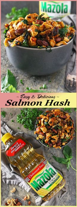 Pinterest photo of Easy Delicious Salmon Hash With Herbs #ad #MakeItMazola #simpleswap