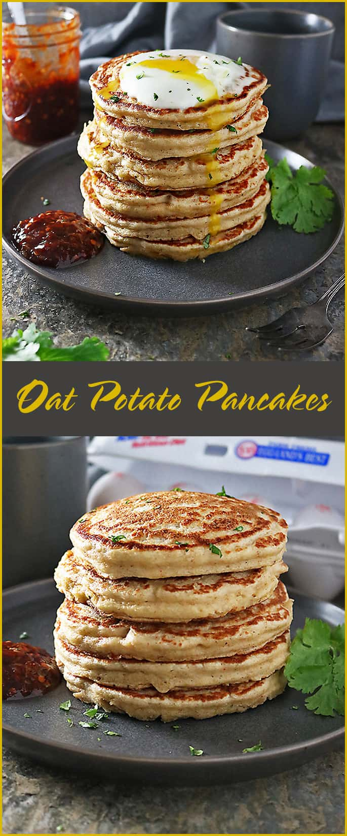 #ad These light and fluffy, gluten-free, 6-ingredient, Oat Potato Pancakes are so satisfying, so delicious, so comforting and yet, so good for ya! Whip up a stack to enjoy with your family this Saturday morning.