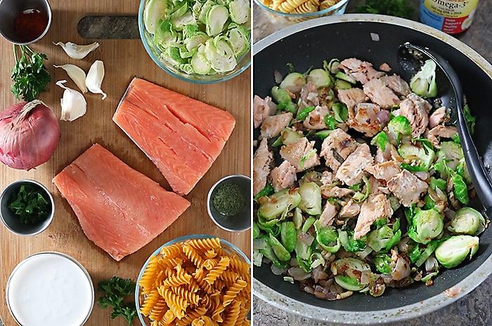 Ingredients & Easy Steps To Make Salmon Tarragon Pasta Photo