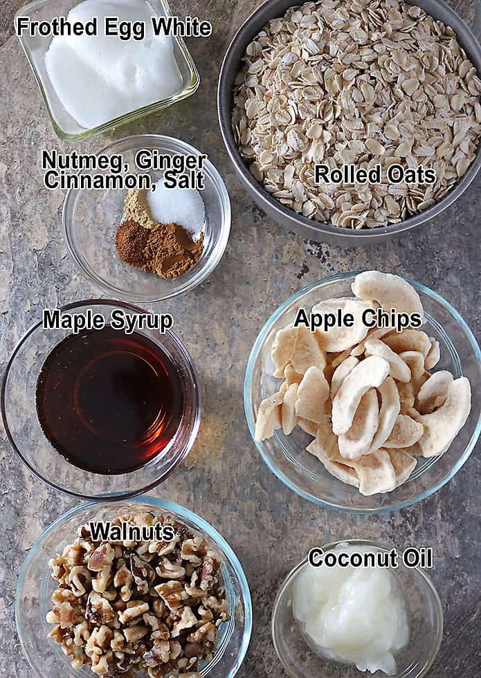 Photo of Ingredients For Making Apple Walnut Granola