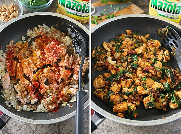 Collage of steps to Making-Salmon-Hash