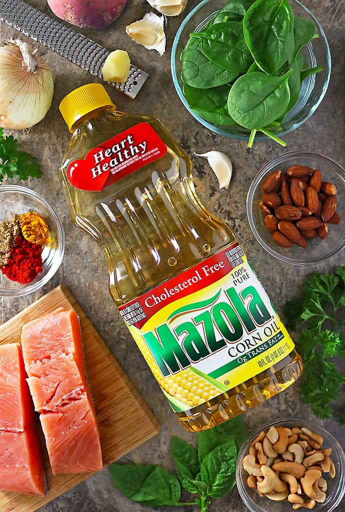 Photo of Mazola Corn Oil And Ingredients For Salmon Hash