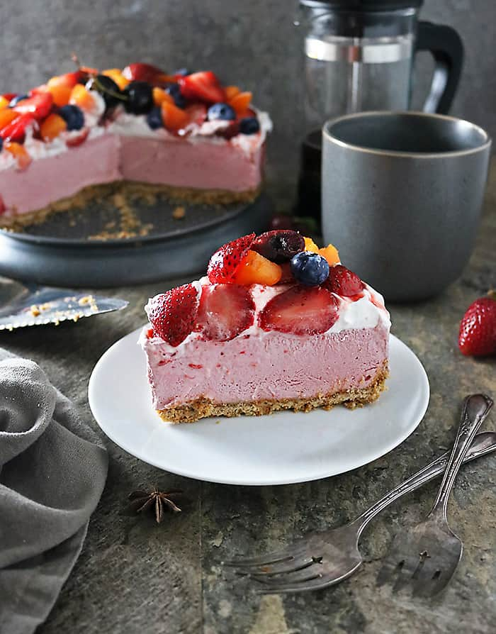 Photo of Vegan No Bake Star Anise Strawberry Cake