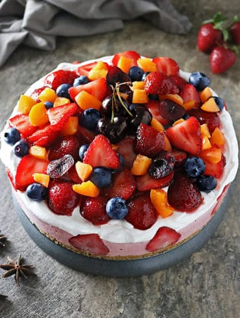 Photo of No Bake Strawberry Cashew Cake