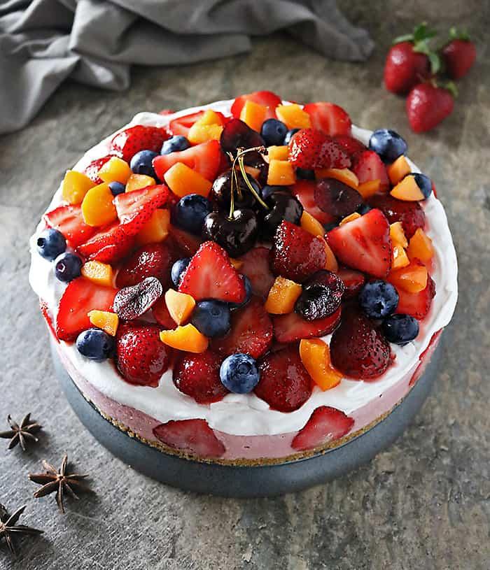 Photo of No Bake Strawberry Cashew Cake