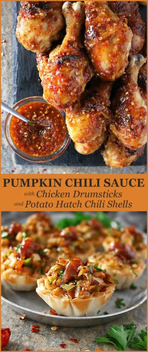 Pinterest photo of Pumpkin Chili-Sauce With Chicken Drumsticks And Potato Hatch Chili Phyllo Shells #GameDayGreats