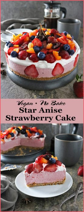 Photo Vegan No-Bake Star Anise & Strawberry Cashew Cake with seasonal produce from Sprouts!