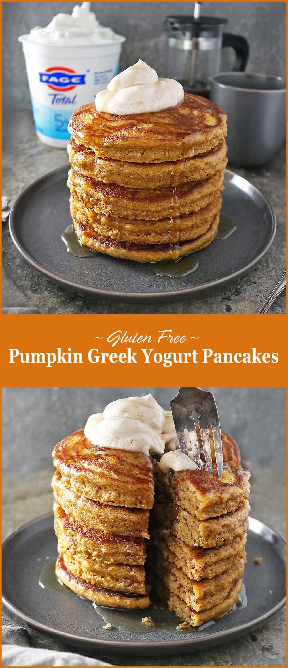 #ad Delicious Easy Gluten Free Pumpkin Greek Yogurt Pancakes Stack @fage @foodietribe #foodietribe