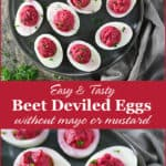 These Beet Deviled Eggs (with a spin) are spiced up with a hint of coriander, smoked paprika and chili powder, and instead of mayo and mustard, I went with red wine vinegar and Greek yogurt. To make things all pretty and jazz up the nutrition, I threw in some beets image