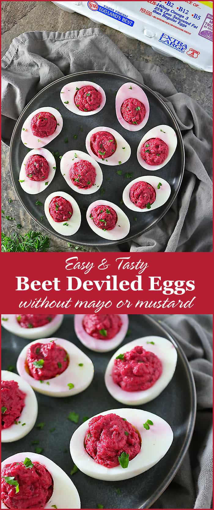These Beet Deviled Eggs (with a spin) are spiced up with a hint of coriander, smoked paprika and chili powder, and instead of mayo and mustard, I went with red wine vinegar and Greek yogurt. To make things all pretty and jazz up the nutrition, I threw in some beets!