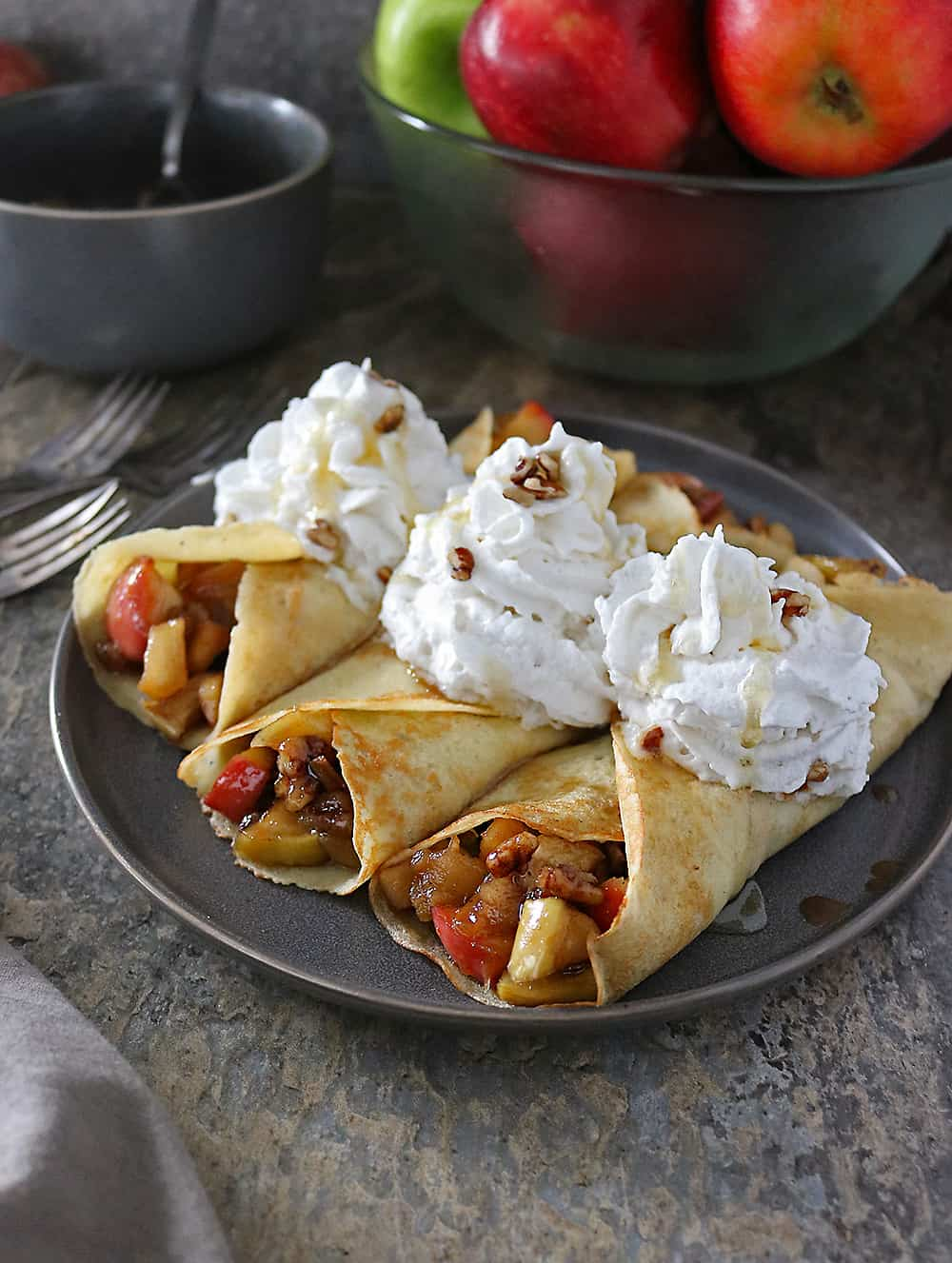 Ginger Cardamom Crepes with Apple Pear-Filling And Non Dairy Reddi wip Photo