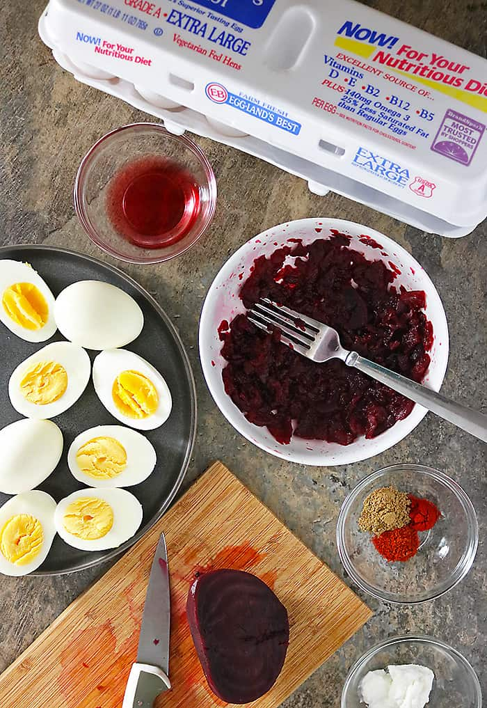 Photo of Ingredients for Making Beet Deviled Eggs