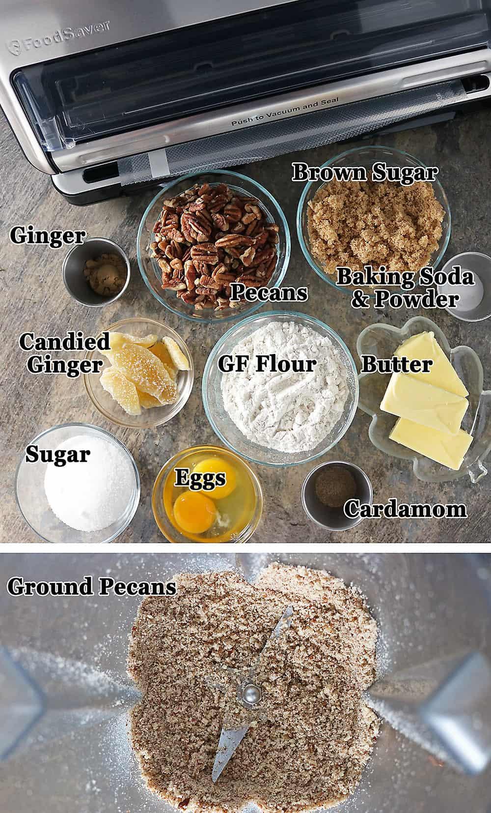 Photo of Ingredients For Pecan Ginger Cookies