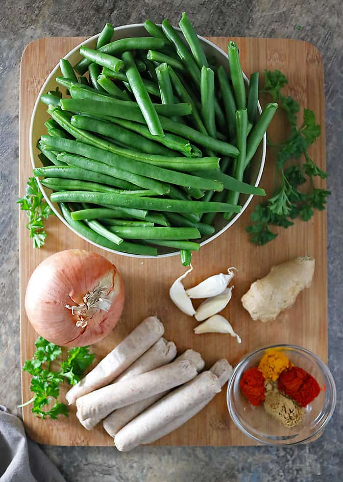 Ingredients To Make Garlic Beans And Sausage Photo