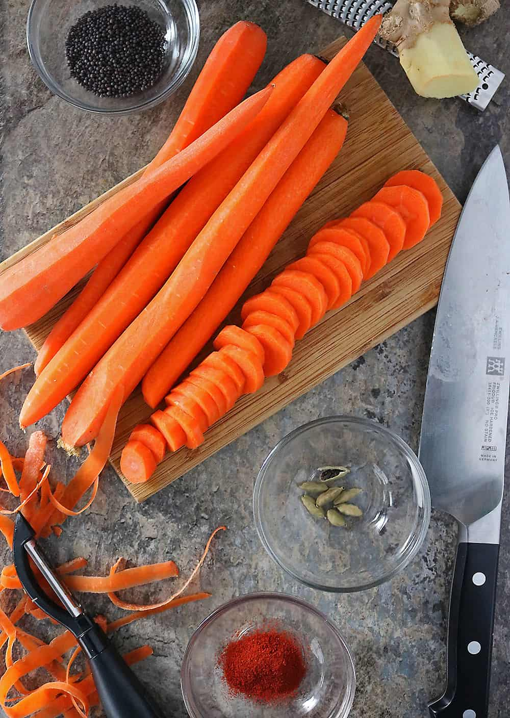 Ingredients To Make Ginger Cardamom Carrots Photo