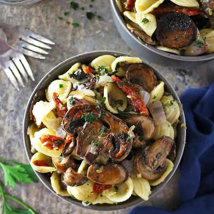 Roasted Mushroom Sundried Tomato Pasta