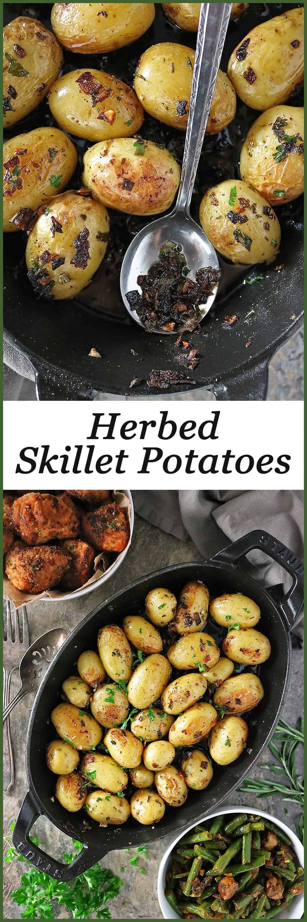 These Cast-iron Garlic Herb Potatoes are soft in the middle with a slightly crisp skin. Aromatic and flavorful , these make a delicious addition to your everyday and/or holiday dinner table.