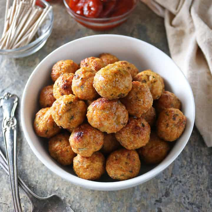 Image of Gluten-free, Baked, Spicy Chicken Meatballs are so easy to make and are delicious dipped in your favorite sauce or dropped into a curry.