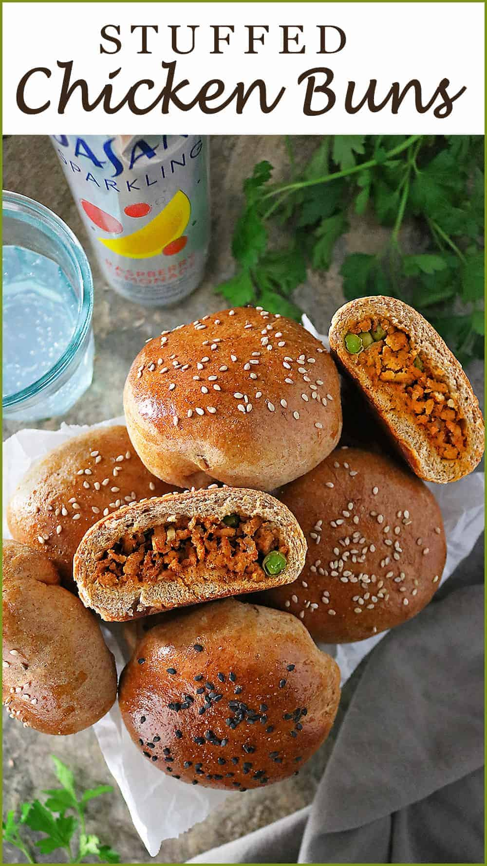 These portable Spiced Chicken Stuffed Buns make snacking delightful! Filled with aromatic chicken that's sauteed with ginger, garlic, and a plethora of spices, these are wonderful to take along on hikes or road trips! #DASANISparkling #FlavorContest #CollectiveBias