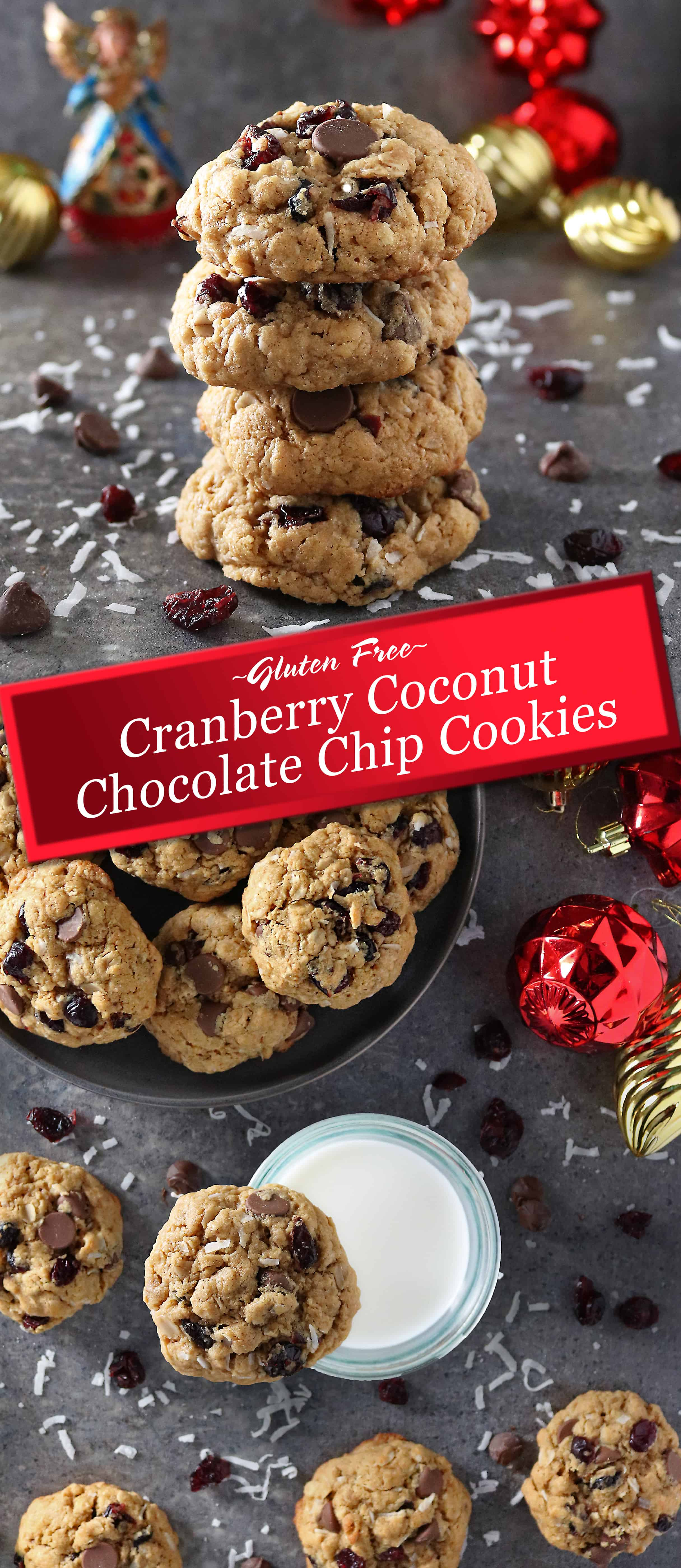 Soft, gloriously thick and scrumptious, it's so hard to stop at just one of these Gluten Free Cranberry Coconut Chocolate Chip Cookies – they are a delicious yet healthyish treat your family and friends are sure to love.