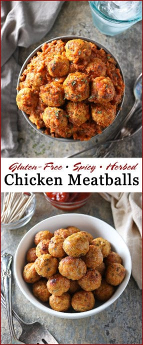 Image of these Perfect for the holidays, these Gluten-free, Spicy Chicken Meatballs are so easy to make and are delicious dipped in your favorite sauce or dropped into a curry.
