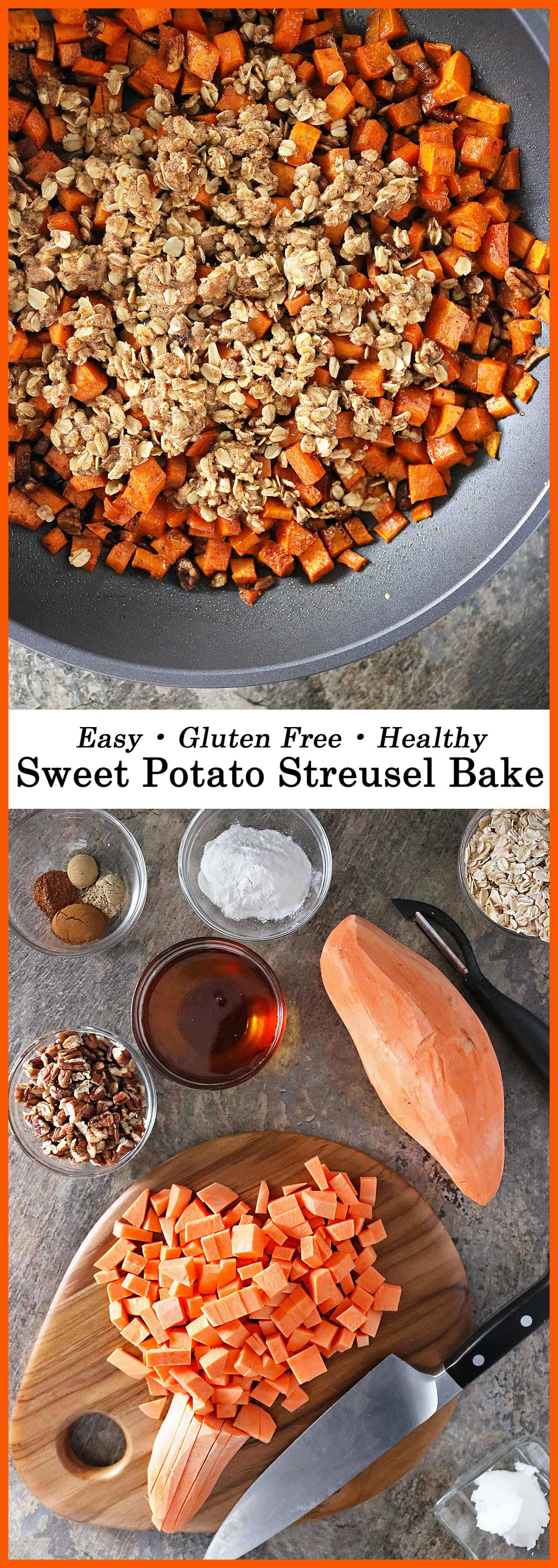 This Sweet Potato Streusel Bake is for you if you are looking for an easy, better-for-you, gluten-free, sweet treat to add to your holiday table. With aromatic, inviting and warm spices like cardamom, cinnamon, and ginger, this is one dish that your family and friends are sure to love.