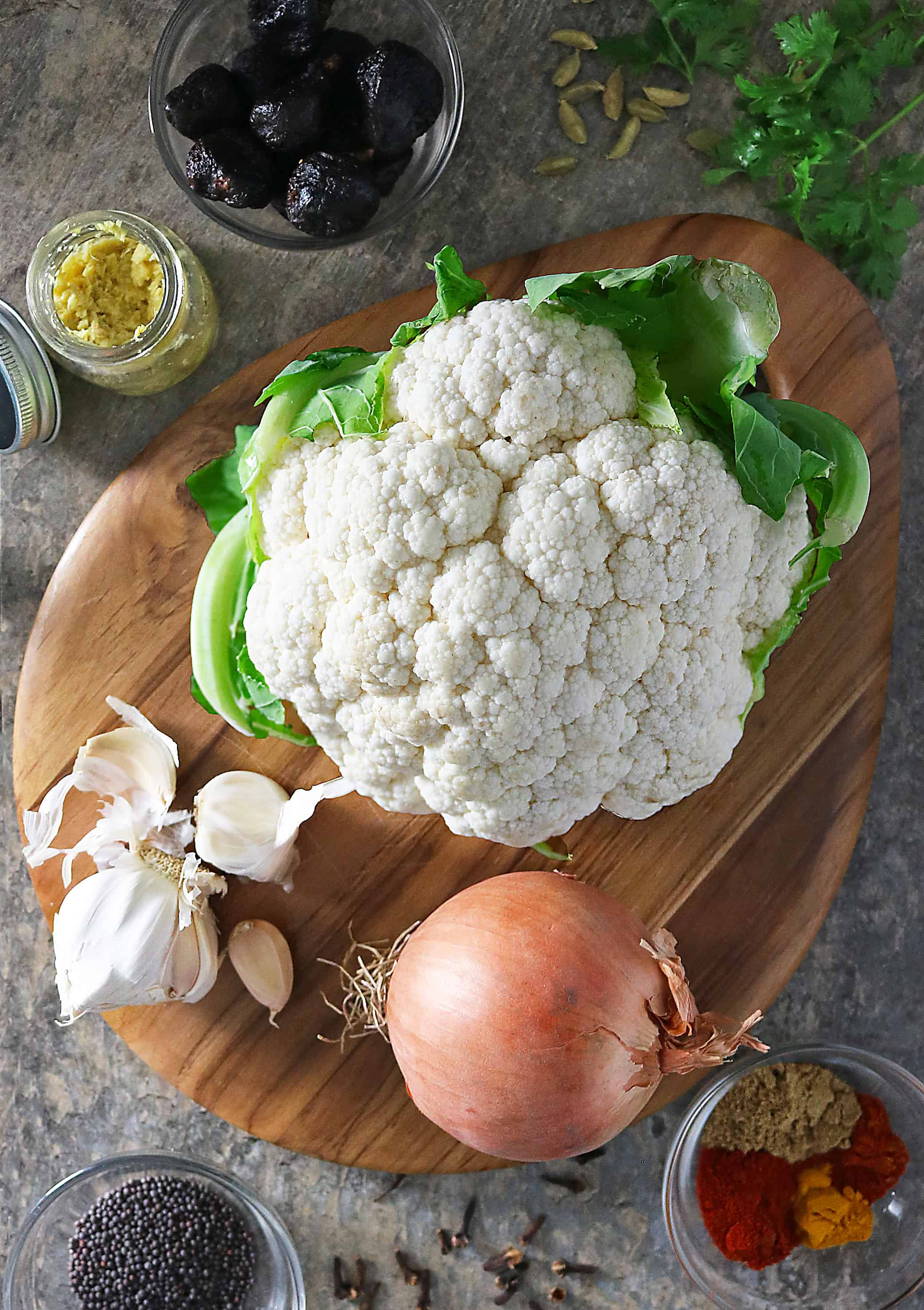 Ingredients to make Spicy Cauliflower Photo