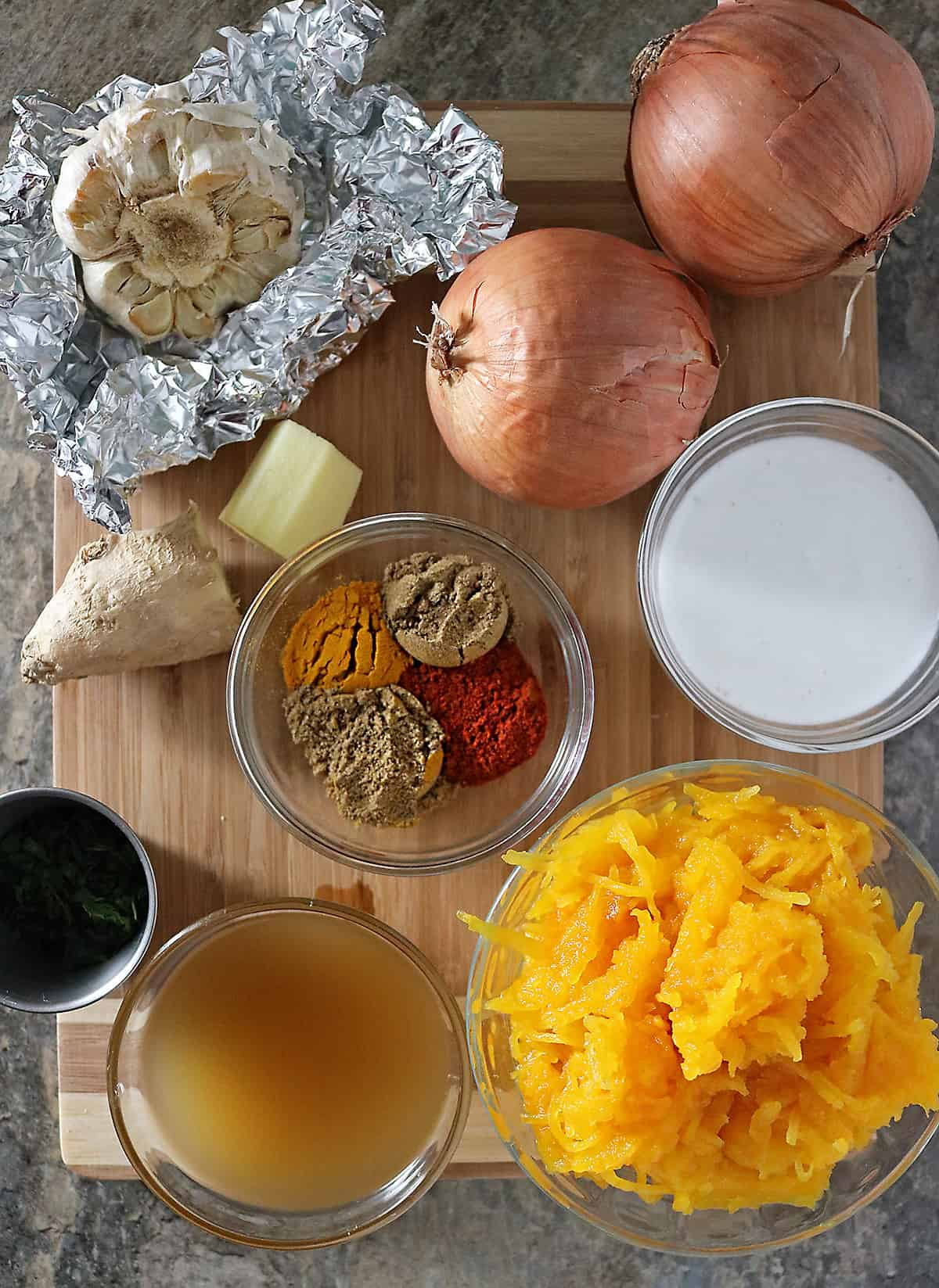 Ingredients To Make Pumpkin Garlic Soup Photo