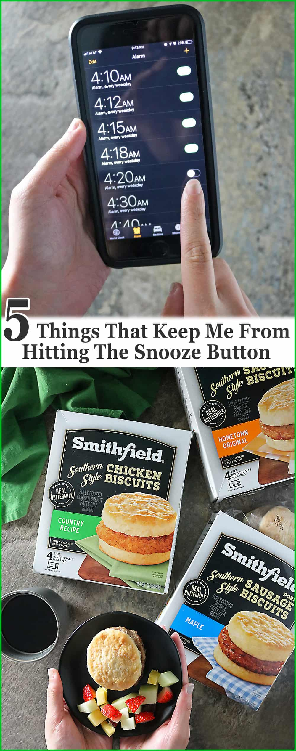 Photo 5 things that keep me from hitting the snooze button. #StartWithSmithfield