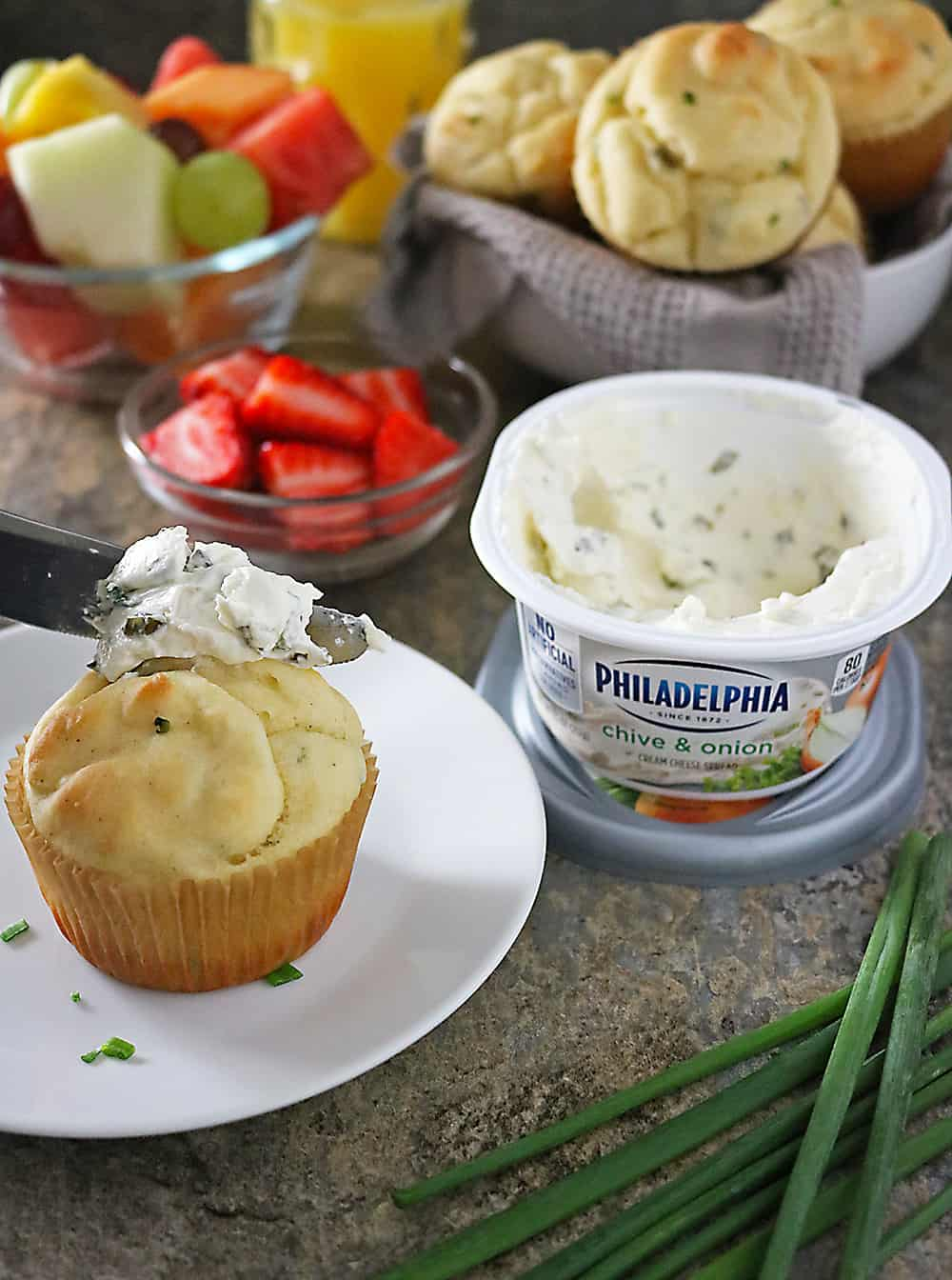 Breakfast Buffet with PHILADELPHIA Cream Cheese IN muffins And On Muffins Photo.