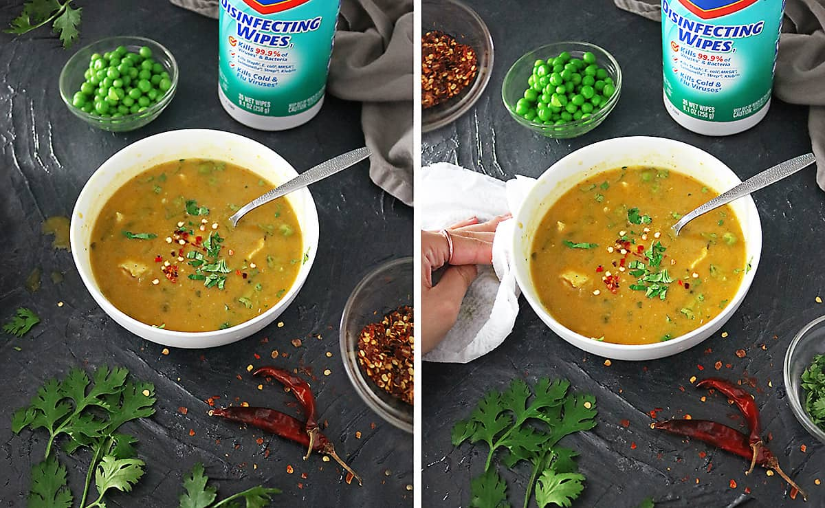 Photo Healthy Ginger Pumpkin Soup With Chicken & Clorox Disinfecting Wipes
