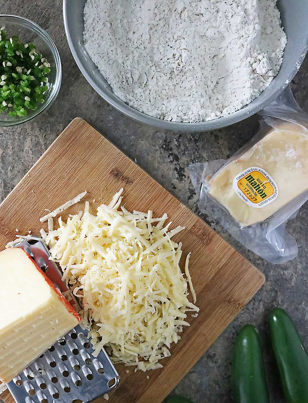 Photo Ingredients For Jalapeno Cheese Crackers With Mahon Cheese
