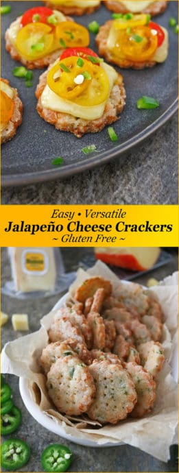 With shredded Mahón-Menorca Cheese and chunks of jalapenos generously spreaded throughout, these 6-ingredient, gluten-free, Jalapeño Cheese Crackers are irresistibly delicious to snack on as is. They also make a delicious addition to a cheese platter or served as appetizers loaded with delicious toppings #mahónmenorcacheese, #cheesefromspain, #eurocheeses