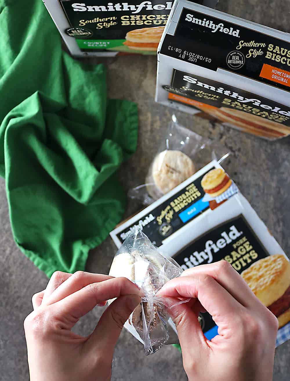 Photo Making Smithfield Breakfast Sandwiches