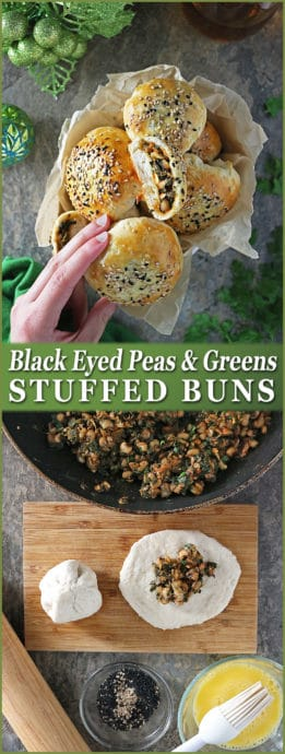 A simple and spicy saute of black eyed peas and greens is stuffed into biscuit dough to make these delicious and portable Black eyed peas and greens stuffed buns for New Year!