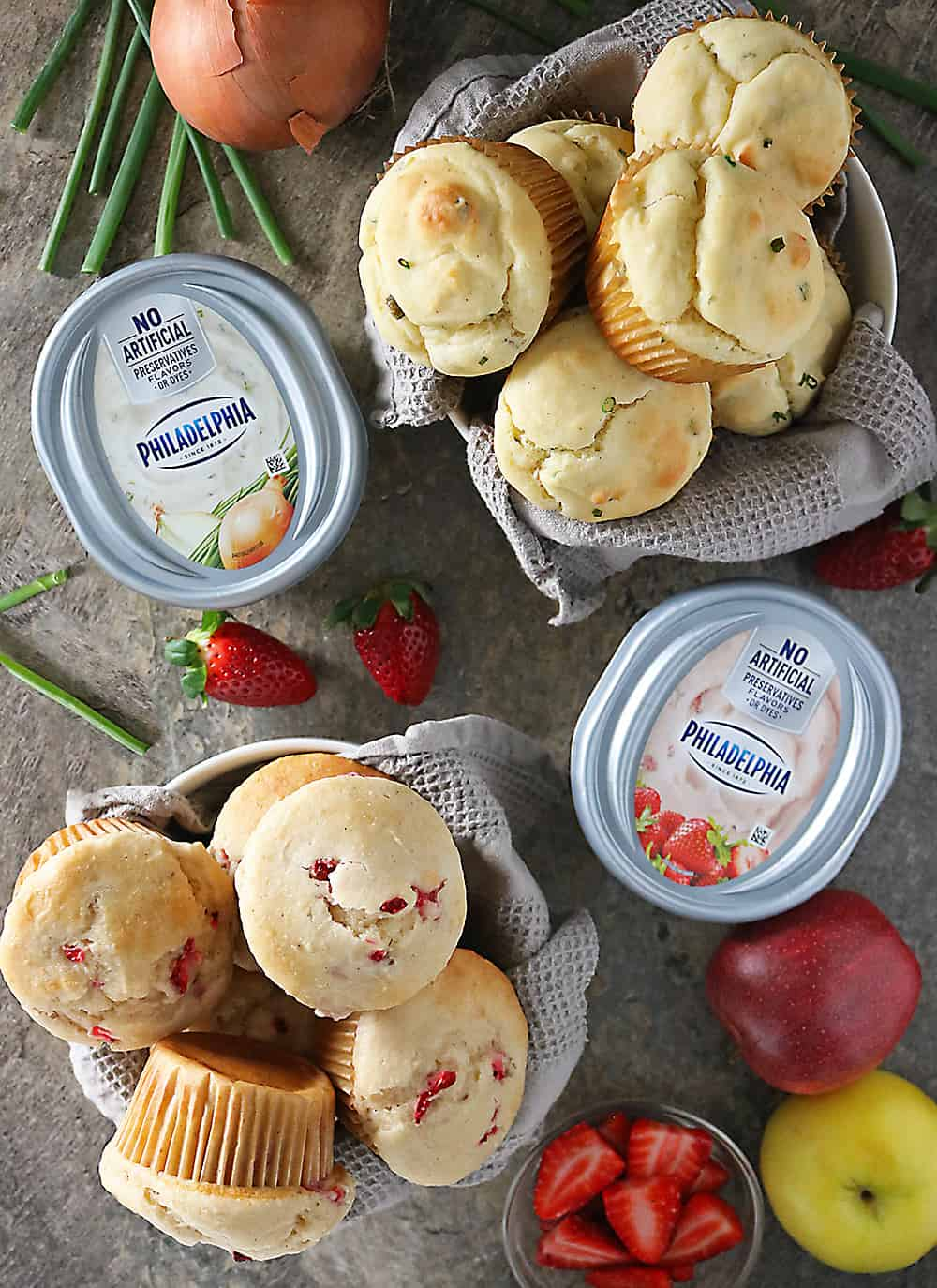 PHILADELPHIA Cream Cheese IN muffins And On Muffins Breakfast Photo