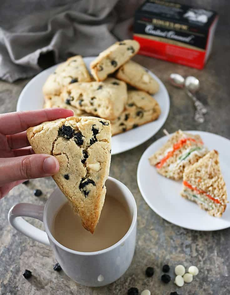 Delicious gluten free, blueberry white chocolate scones are the perfect sweet pairing with a steaming hot cup of Bigelow Tea.