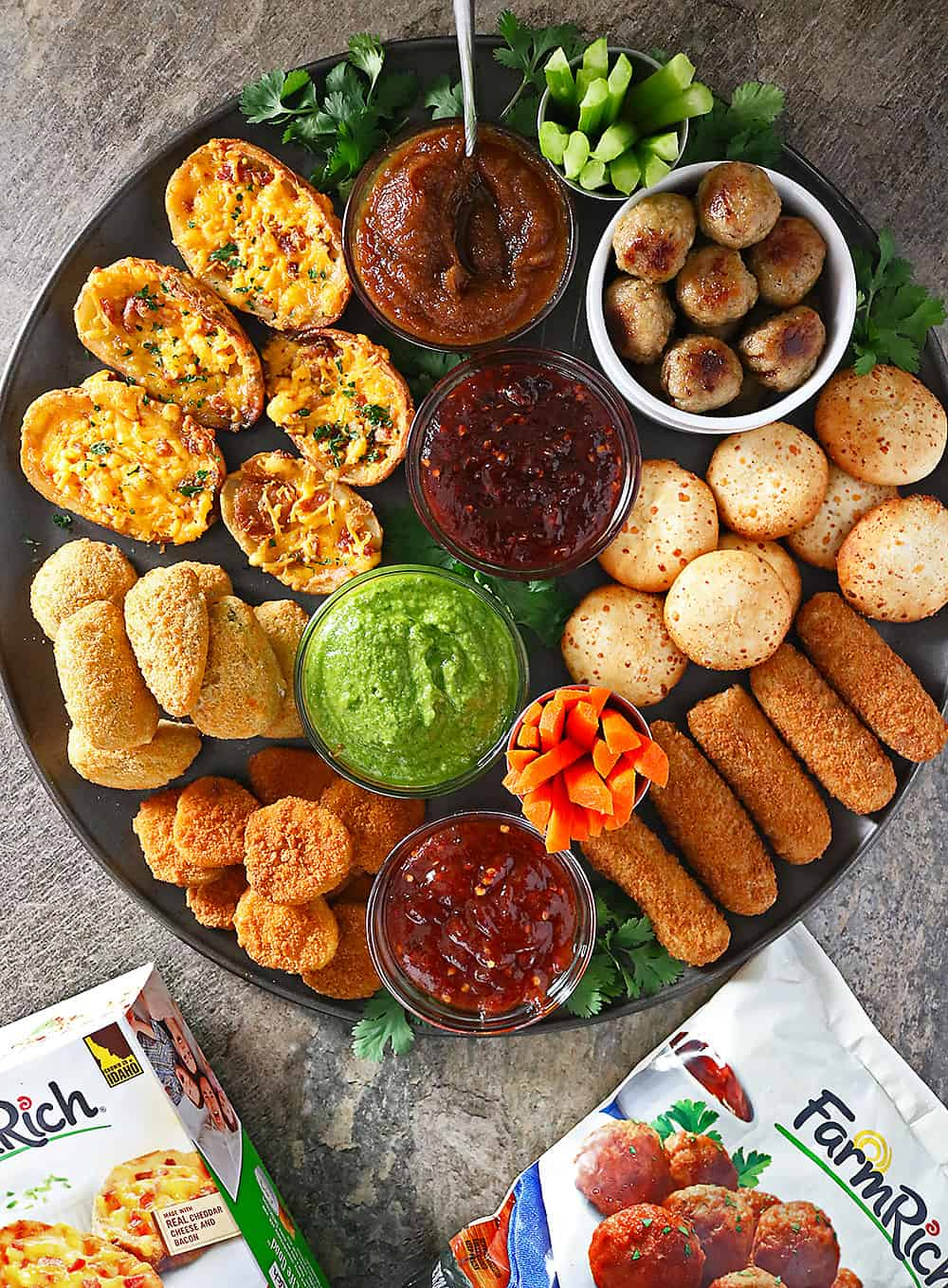This delicious Party platter with Spicy Chili Maple Sauce, Spicy Peach Sauce, Spicy Green Sauce, & Spicy Date Sauce is one  you are going to want to serve at your get togethers.