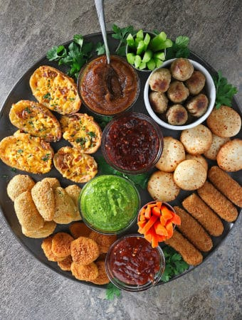 FarmRich Game Day Snacking Platter With Spicy Sauces.