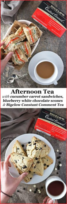 #ad My daughter and I decided to celebrate hot tea month with an afternoon tea spread with Cucumber Carrot Sandwiches, Blueberry White Chocolate Scones and a hot cup of freshly brewed Constant Comment Tea. Check out the recipes on my blog /></noscript><img class=