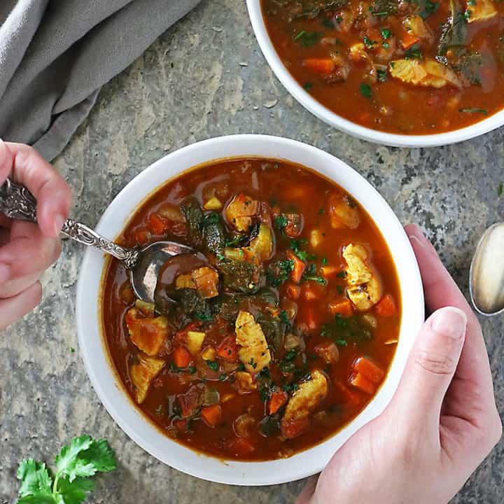 Chunky Turkey Spinach Soup