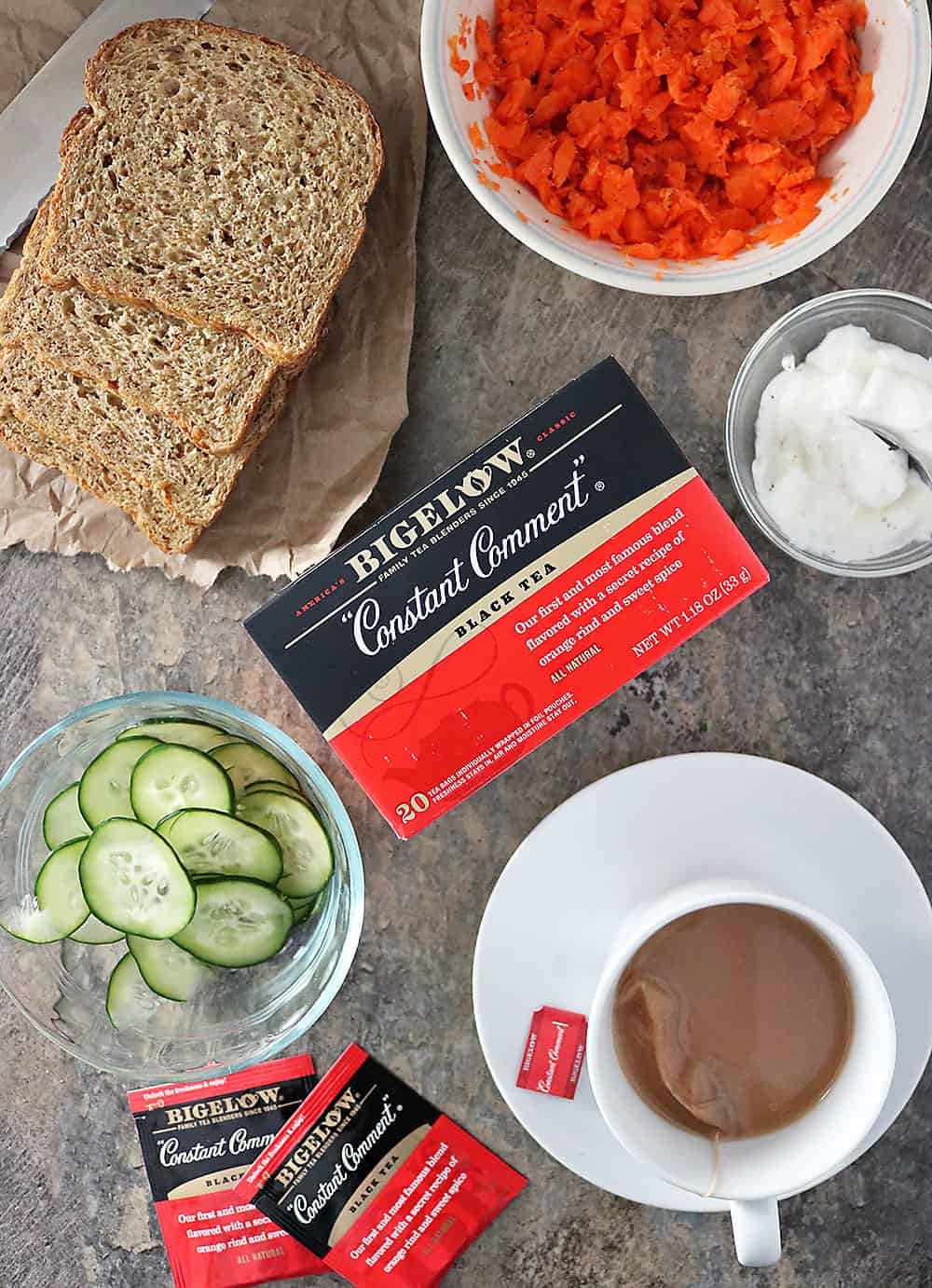 Photo of Ingredients For Making Carrot Cucumber Sandwiches for afternoon tea.