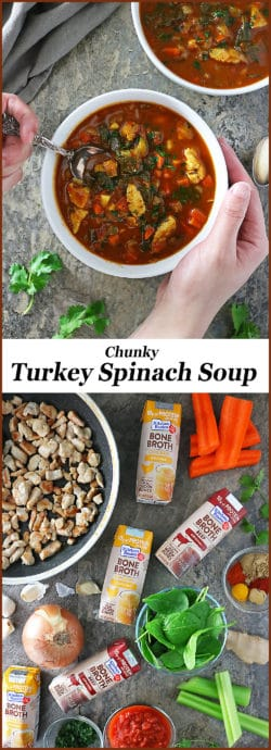 With a hearty broth made with garlic, spices and Kitchen Basics Bone Broth, we found this low carb, Turkey Spinach Soup to be so tasty and filling and I'm hoping you do as well. #NewYearNutrition