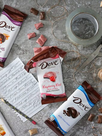 Photo of Moving Treat Time with NEW DOVE® Chocolate Bars such as Bourbon Vanilla, Salted Caramel Blonde, & Almond Brittle